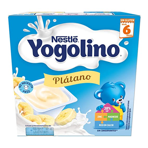 NESTLÉ YOGOLINO, con Plátano, para bebés a partir de 6 meses - Paquete de 6 x 4 tarrinas de 100 g: Amazon.es: Alimentación y bebidas