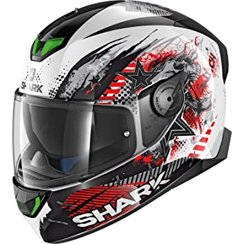 Amazon.es: HE4921EWKR : Casco moto SHARK SKWAL 2 SWITCH RIDER 1 BLANCO NEGRO ROJO talla XS
