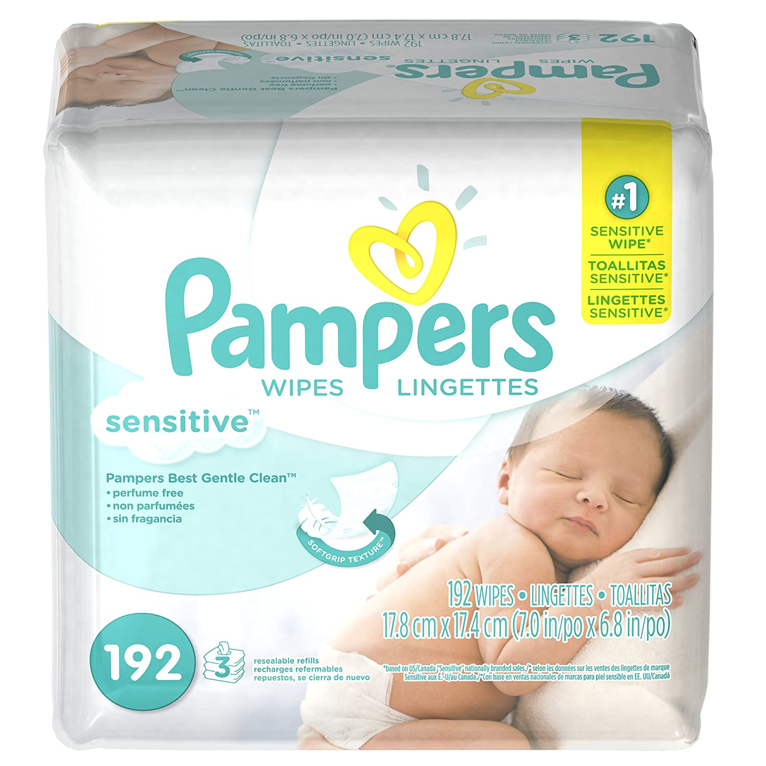 Pampers Sensitive Baby Wipes Unscented 192 ct Baby Babe Infant