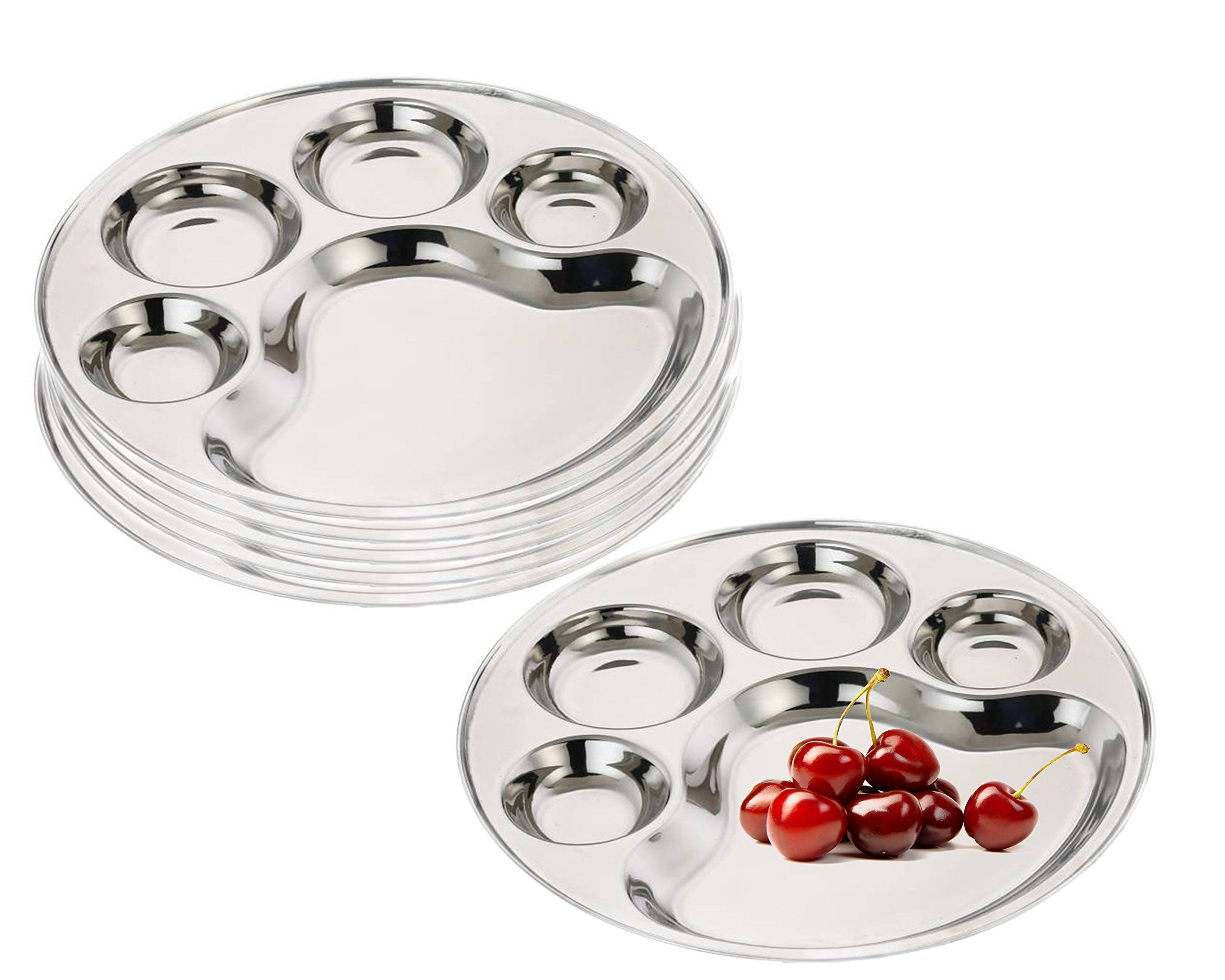 King International 100% Stainless Steel Round 5 in 1 Five Compartment Divided Dinner Plate | Stainless steel Plate | Mess Trays Great for Camping | Set of 6 Pieces