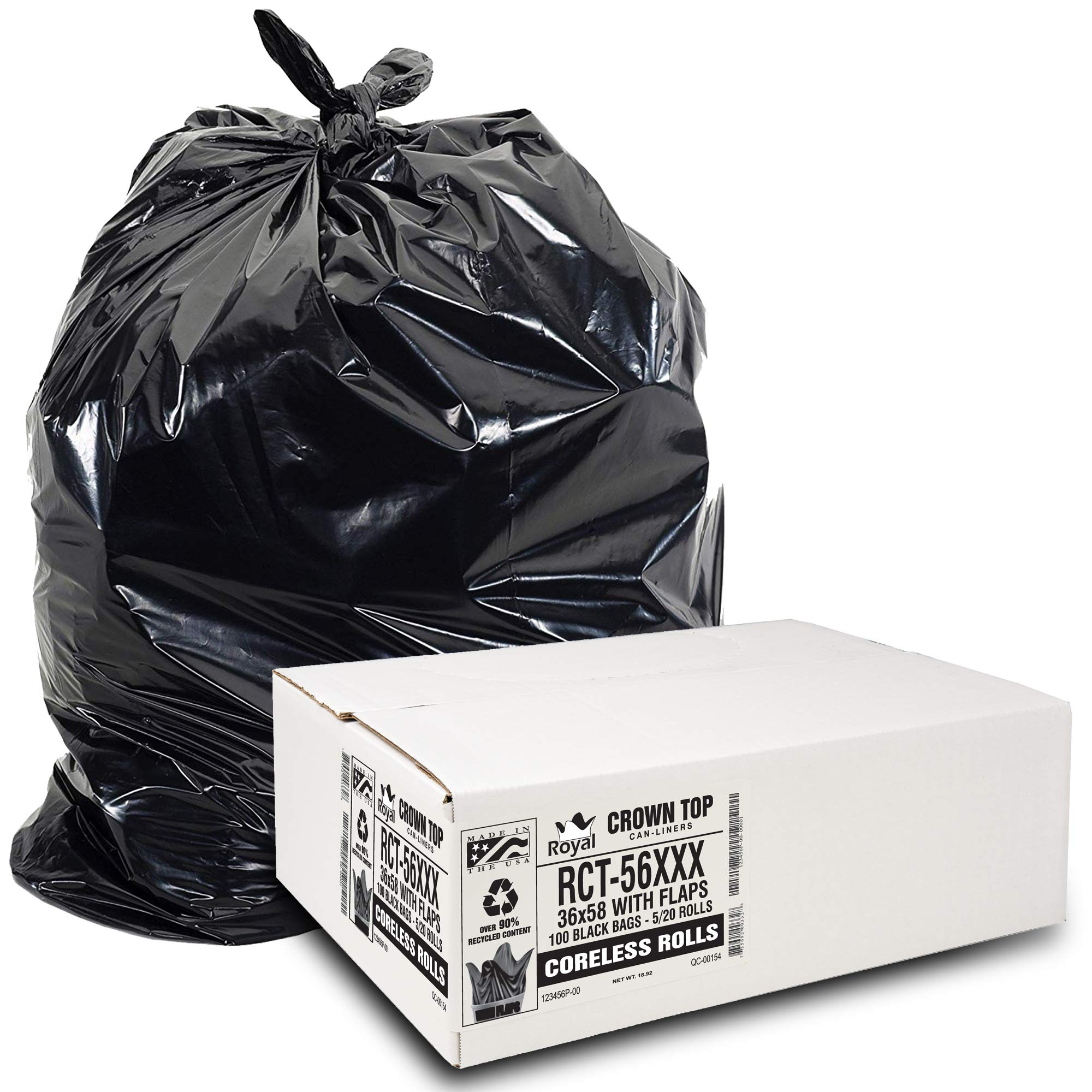 Heavy Duty 55 Gallon Trash Bags - (Huge 100 Pack/w Flap Ties) - 2.0 MIL (Equivalent) 43'' x 46'' Star Sealed Bottom Thick Garbage Bags for Contractors, Lawn, Leaf, Yard Waste, Commercial Kitchen, by Aluf Plastics