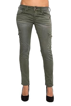 07aa2399b430 Lost in Paradise - Jeans - Slim - Femme Vert Kaki  Amazon.fr ...