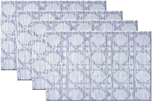 Bright Dream Placemats Washable Easy to Clean PVC Placemat for Kitchen Table Heat-resistand Woven Vinyl Table Mats 12x18 inches Set of 4(Navy+White)
