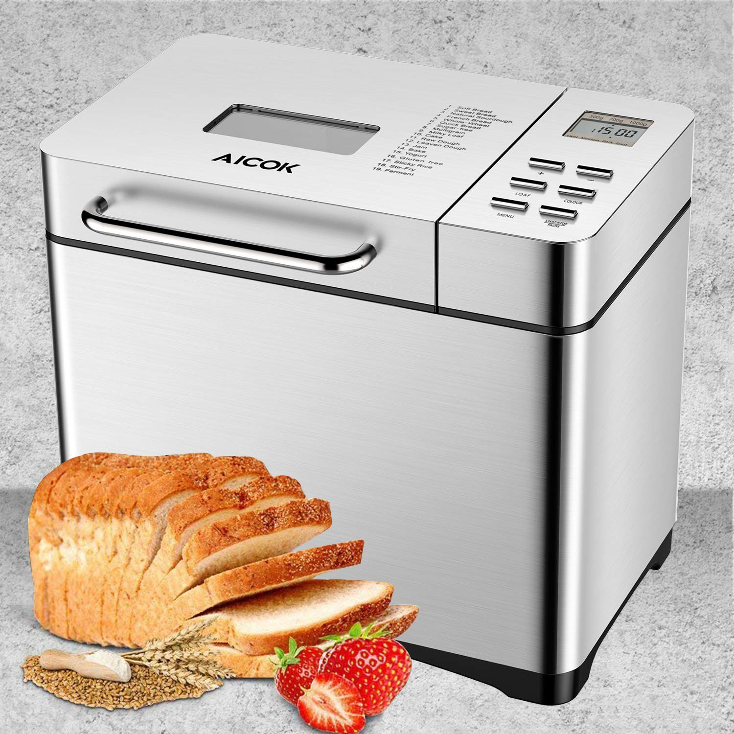 Aicok Stainless Steel Bread Machine, 2LB 19-in-1 Programmable XL Bread Maker with Fruit Nut Dispenser, Nonstick Ceramic Pan, 3 Loaf Sizes & 3 Crust Colors, Gluten-Free Setting, Reserve& Keep Warm Set by AICOK