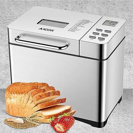 Aicok Panificadora con 19 Programas, Maquina de hacer pan con Dispensador Automático y Temporizador de 15h, Acero inoxidable, 0.5-1kg para Pan sin ...