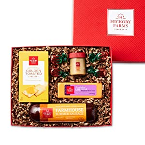 Hickory Farms Sausage & Cheese Small Gift Box | Gourmet Food Gift Basket, Great for Snacking, Small Gatherings, Birthday, Family, Congratulations Gifts, Thinking of You, Retirement, Sympathy, Business and Corporate Gifts