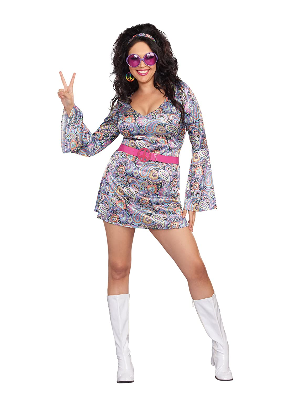 60s 70s Plus Size Dresses, Clothing, Costumes Dreamgirl Womens Plus-Size Love-Fest Costume $21.94 AT vintagedancer.com