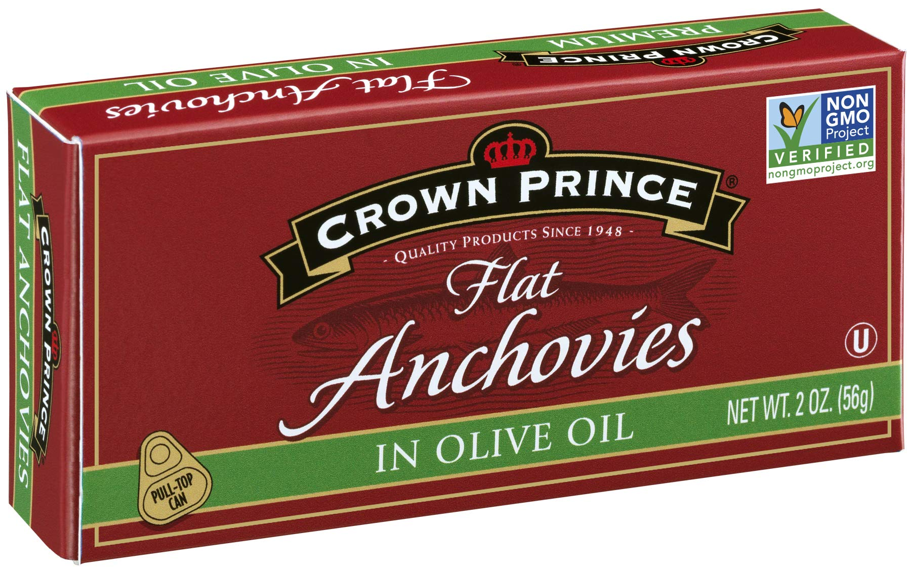 Crown Prince Flat Anchovies in Olive Oil, 2-Ounce Cans (Pack of 12) by Crown Prince