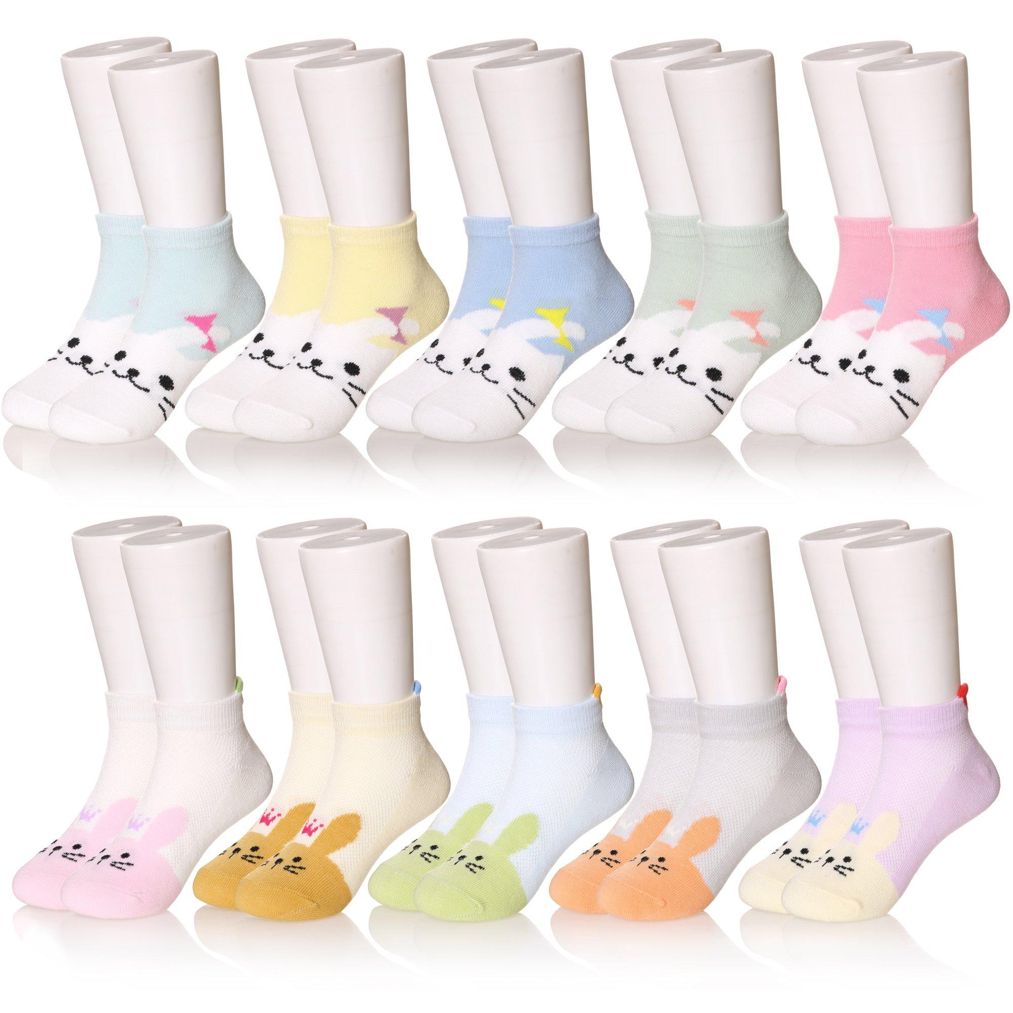 10 Pairs Boys' Low Cut Athletic Socks (Girls 10 Pairs, 8-12 Years)