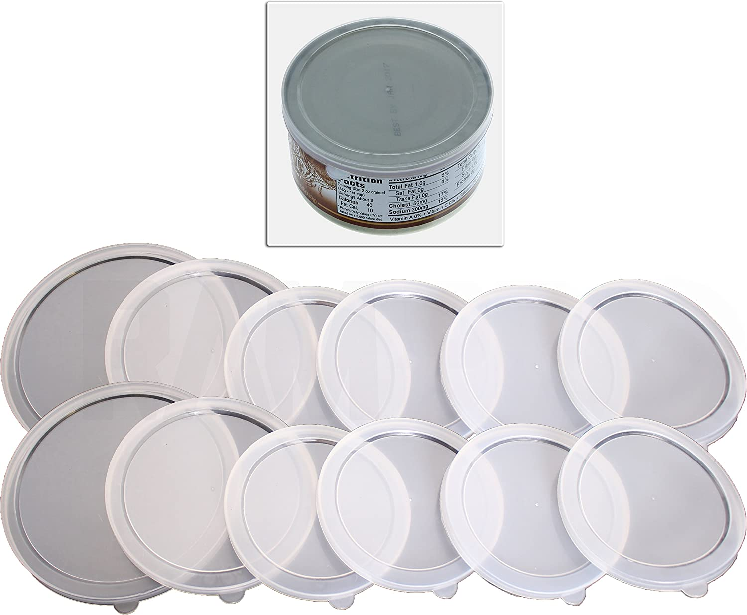 12 Piece Assorted Size 2 Large 2 Medium 8 small Plastic Can Covers Lids For Canned Goods or Pet Dog Cat Food (Save Food Fresh, Tight Seal- 2PK)