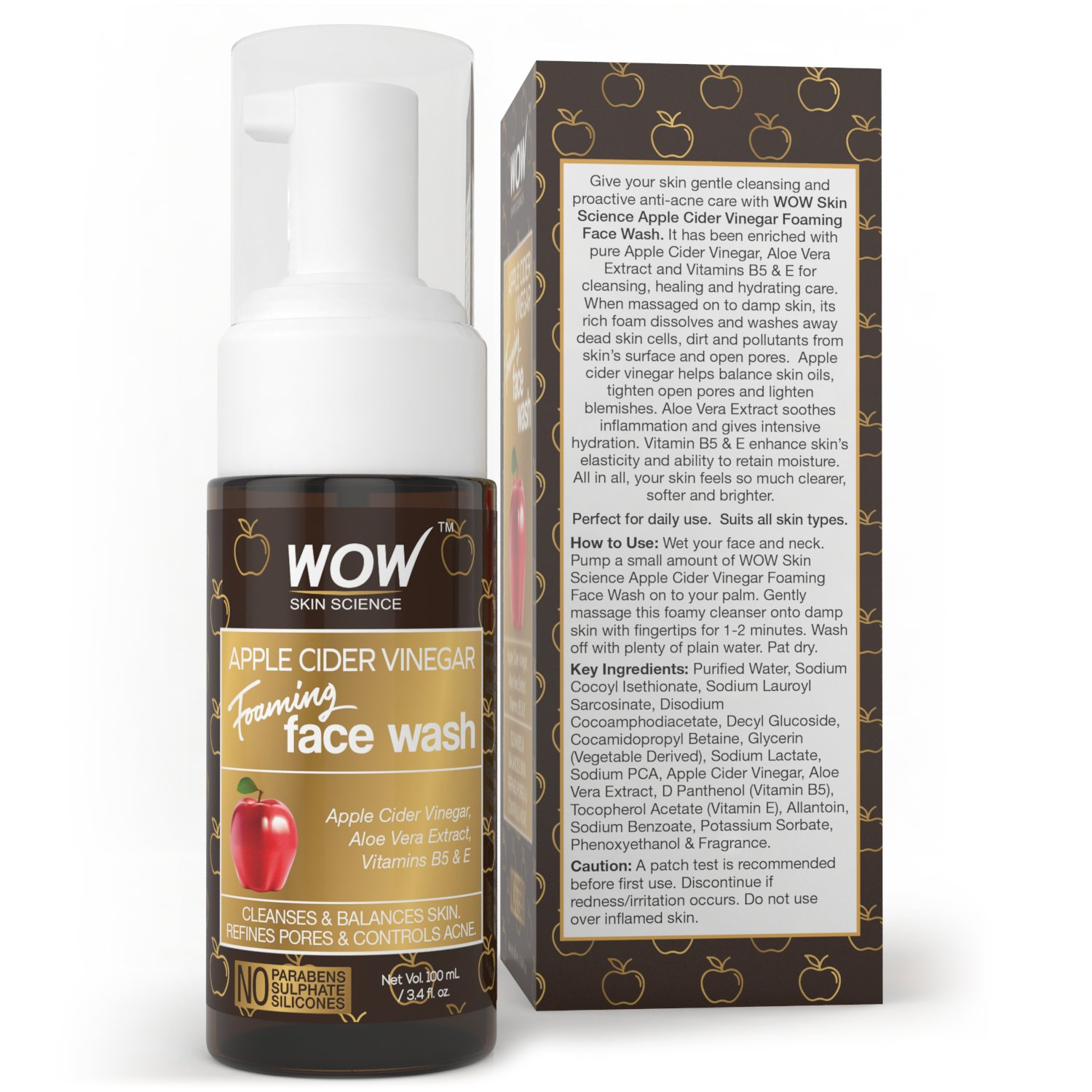 WOW Apple Cider Vinegar Foaming Face Wash Cleanser - Normal, Dry & Oily Skin - Heal, Hydrate For Soft, Clear Skin - Remove Dirt, Oil & Makeup, Reduce Acne Breakouts - Men & Women - All Ages - 100 mL by BUYWOW (Image #2)