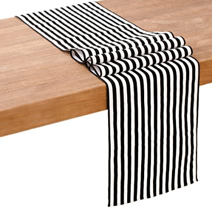 Lingu0027s Moment Small Black And White Striped Table Runner, 12 X 72 Inches  Cotton U0026