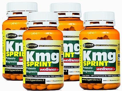 Suplemento de potasio y magnesio | 4 paquete x 100 tabletas | Energía contra la fatiga