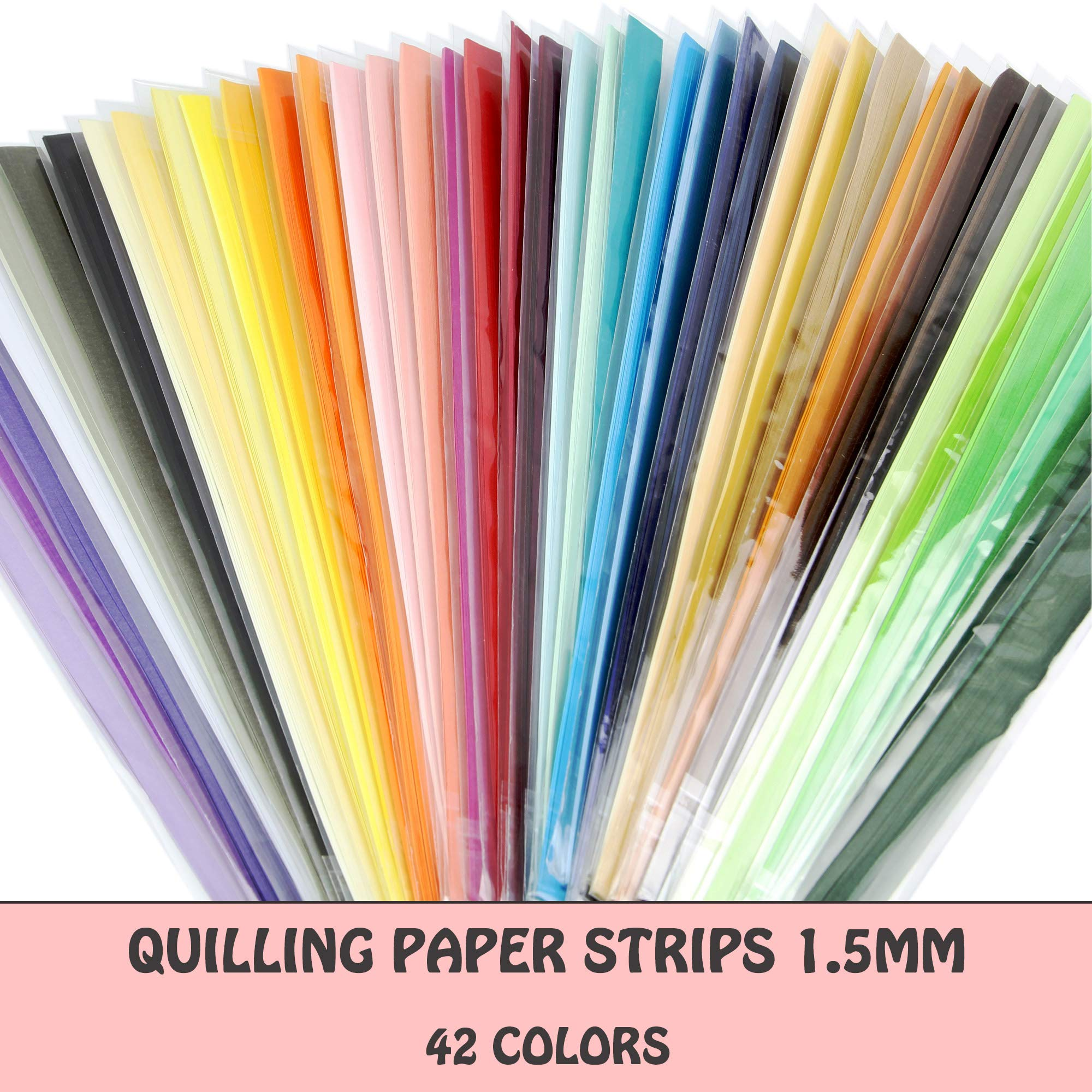 IMISNO Quilling Paper Strips Set - Width 1.5mm,42 Colors,5040 Strips Total