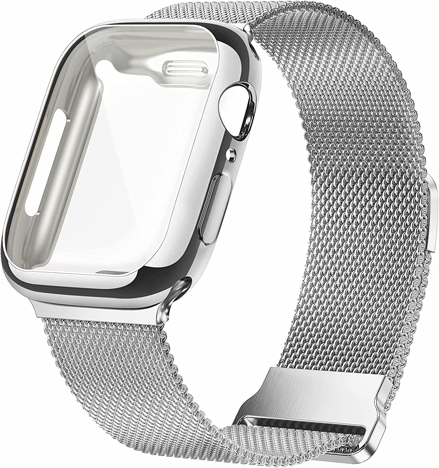 JuQBanke Metal Magnetic Bands Compatible for Apple Watch Band 38mm with Case, Stainless Steel Milanese Mesh Loop Replacement Strap Compatible with iWatch Series SE 6/5/4/3/2/1 for Women Men,Silver