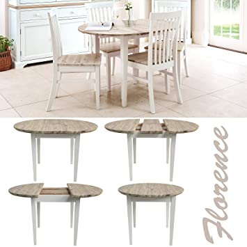 Florence white round extended table -cm. % hardwood