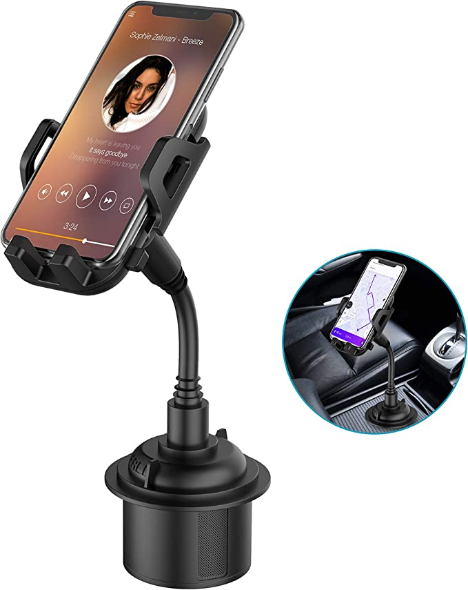 Car Cup Holder Phone Mount Adjustable Gooseneck Cupholder Cell Phone Cradle With 360 Rotatable Holder Compatible With Most Smart Phones Amazon Com