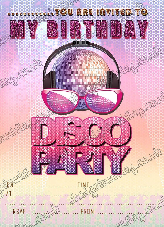 Invitaciones para fiestas de discoteca, invitaciones para ...