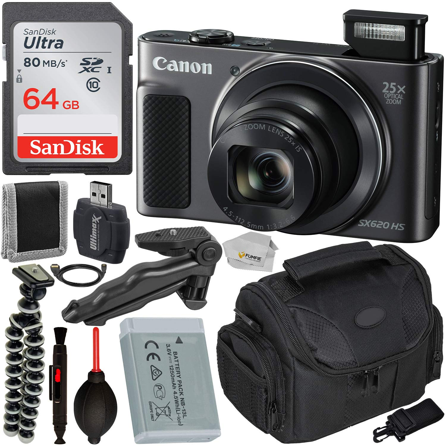 Canon PowerShot SX620 HS Digital Camera (Black) with Essential Accessory Bundle - Includes: SanDisk Ultra 64GB SDXC Memory Card, Pistol Grip, Carrying Case & Much More by Canon