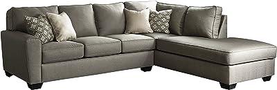 Calicho Contemporary Cashmere Color Fabric Sectional Sofa