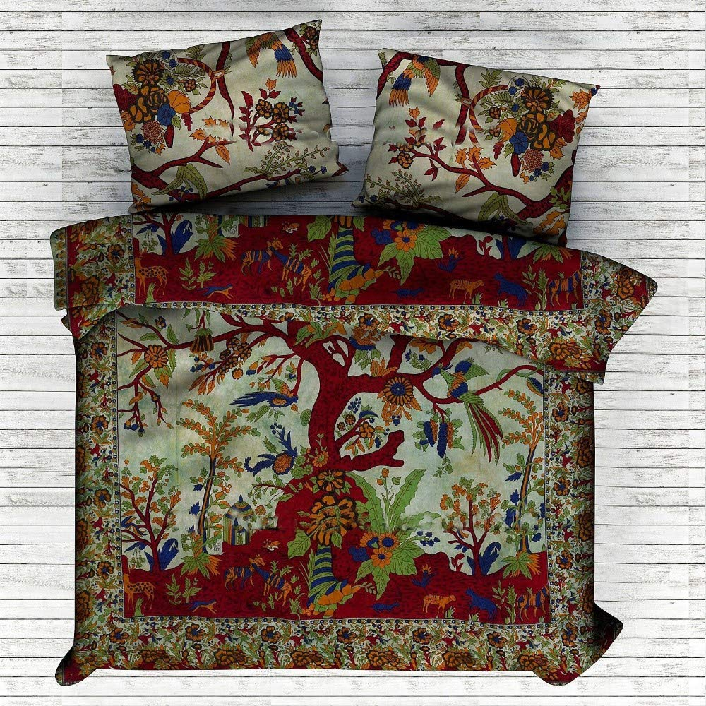 NANDNANDINI TEXTILE Tree Of Life Indian Decorative Bedroom Decor Home Decor Coverlet Indian Quilt Bohemian Bedspread Bedding Indian Bedsheet Cotton Tapestry Mandala Duvet Cover Quilt Cover
