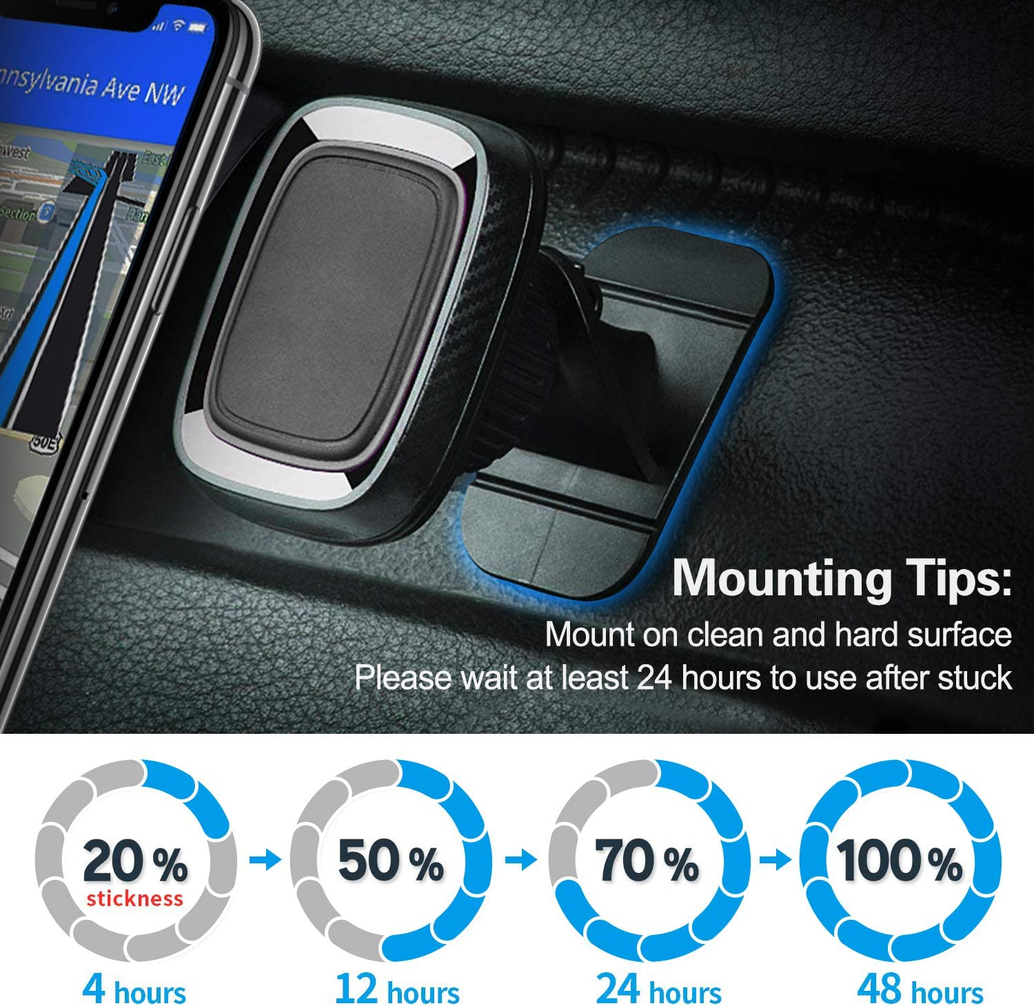 Sticky Adhesive Pad Replacement for Car Dashboard Magnetic Phone Mount Base pop-tech 8pcs 3M VHB Double Sided Sticker Heat Resistance Tapes Compatible with Suction Cup Cellphone Holder /& Dash Cam