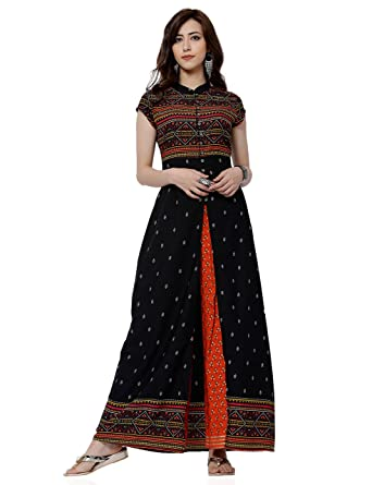 0170eb021 Vishudh Women s A-Line Kurta (VNKU005917 Black X-Large)  Amazon.in ...