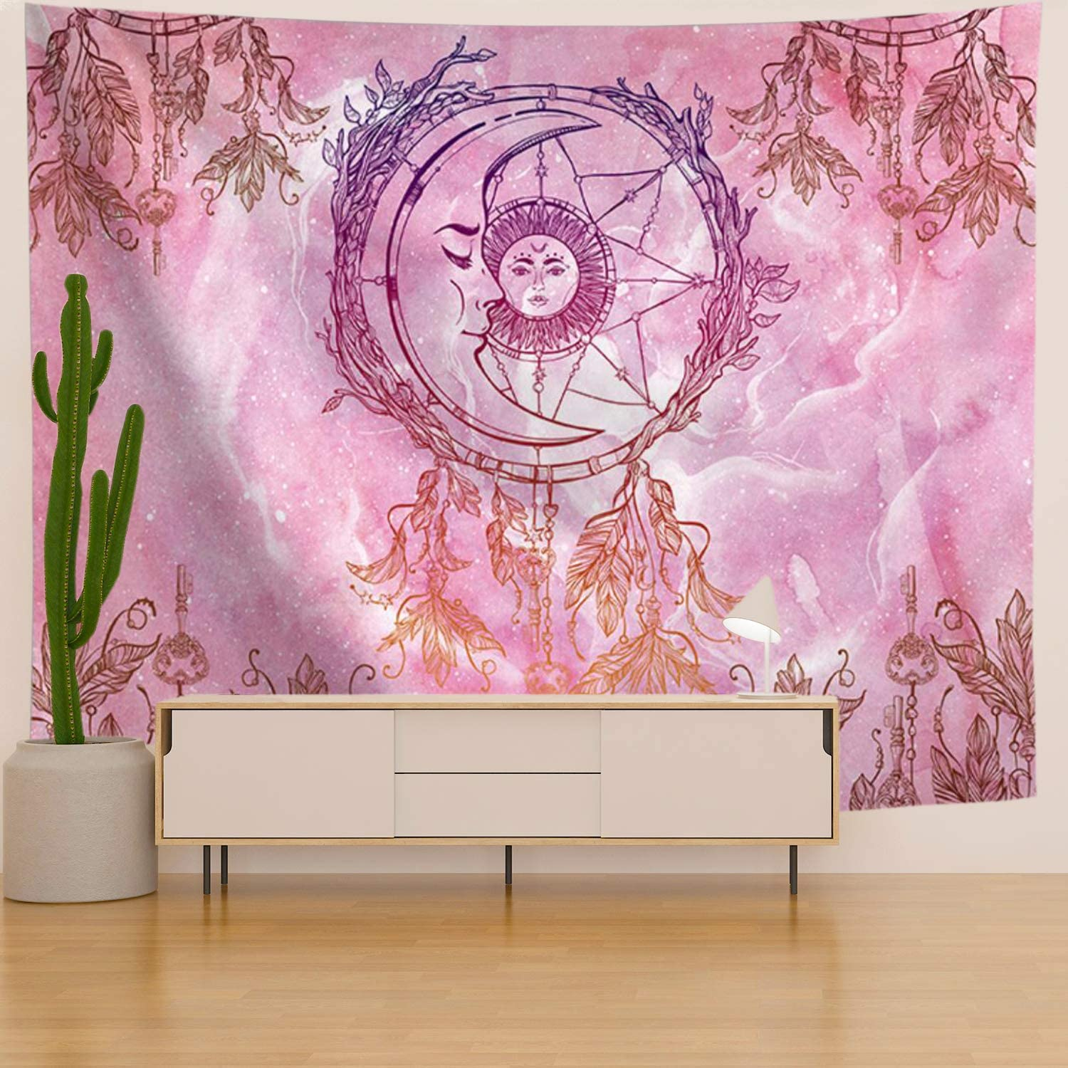 Maccyafst Pink Tapestry Moon Sun Tapestry Dreamcatcher Tapestry Bohemian Mandala Wall Tapestry Psychedelic Tapestry Wall Hanging For Bedroom H51 2 W59 1 Inches Everything Else Amazon Com
