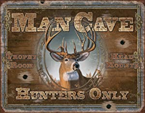 Desperate Enterprises Man Cave - Hunters Only Tin Sign, 16