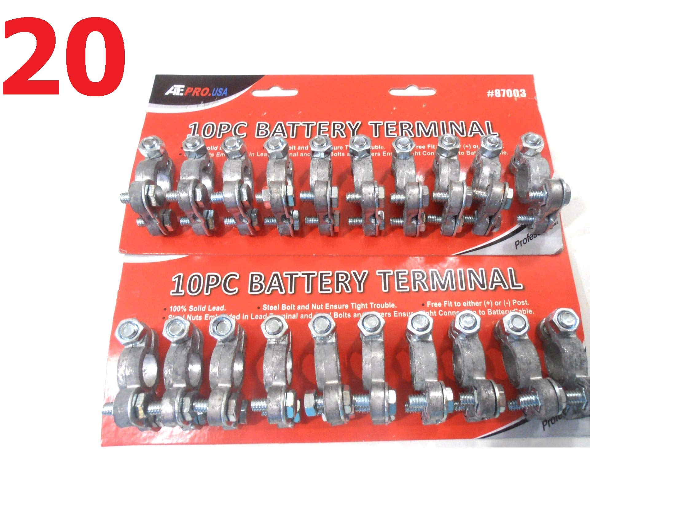 20Pc Battery Terminal Cable Ends TOP Post Card TOP Solid Lead Steel Bolt NEG Quick Delivery by $/Reliable
