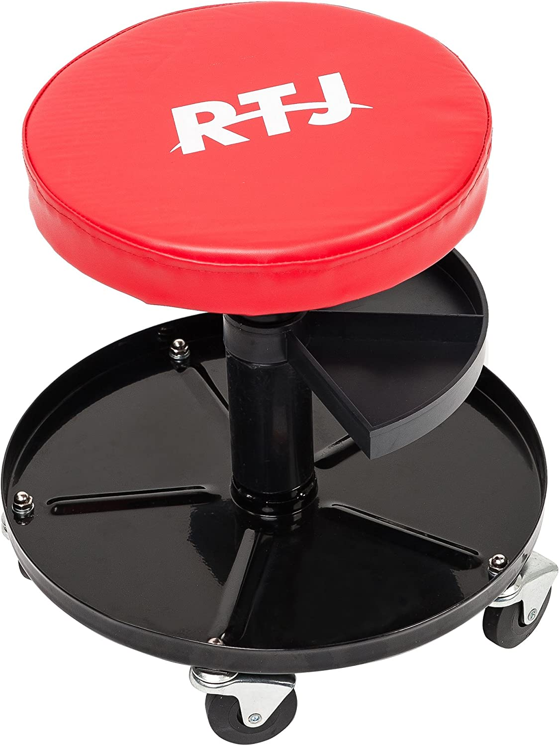 Red and Black RTJ 300 lbs Capacity Foldable Mechanic Roller Seat C-Frame Rolling Stool