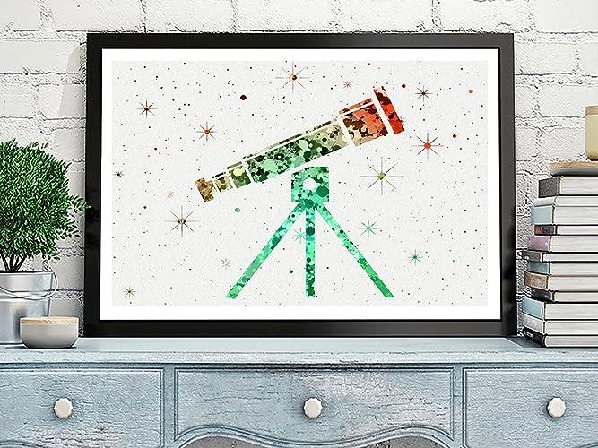 Amazon Telescope Watercolor Posters Art Prints Wall Decor