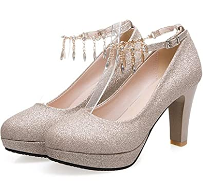 Robert Reyna Nice Women's Round Toe Platform Low Top High Chunky Heel Ankle Wrap Pumps Shoes With Pendants