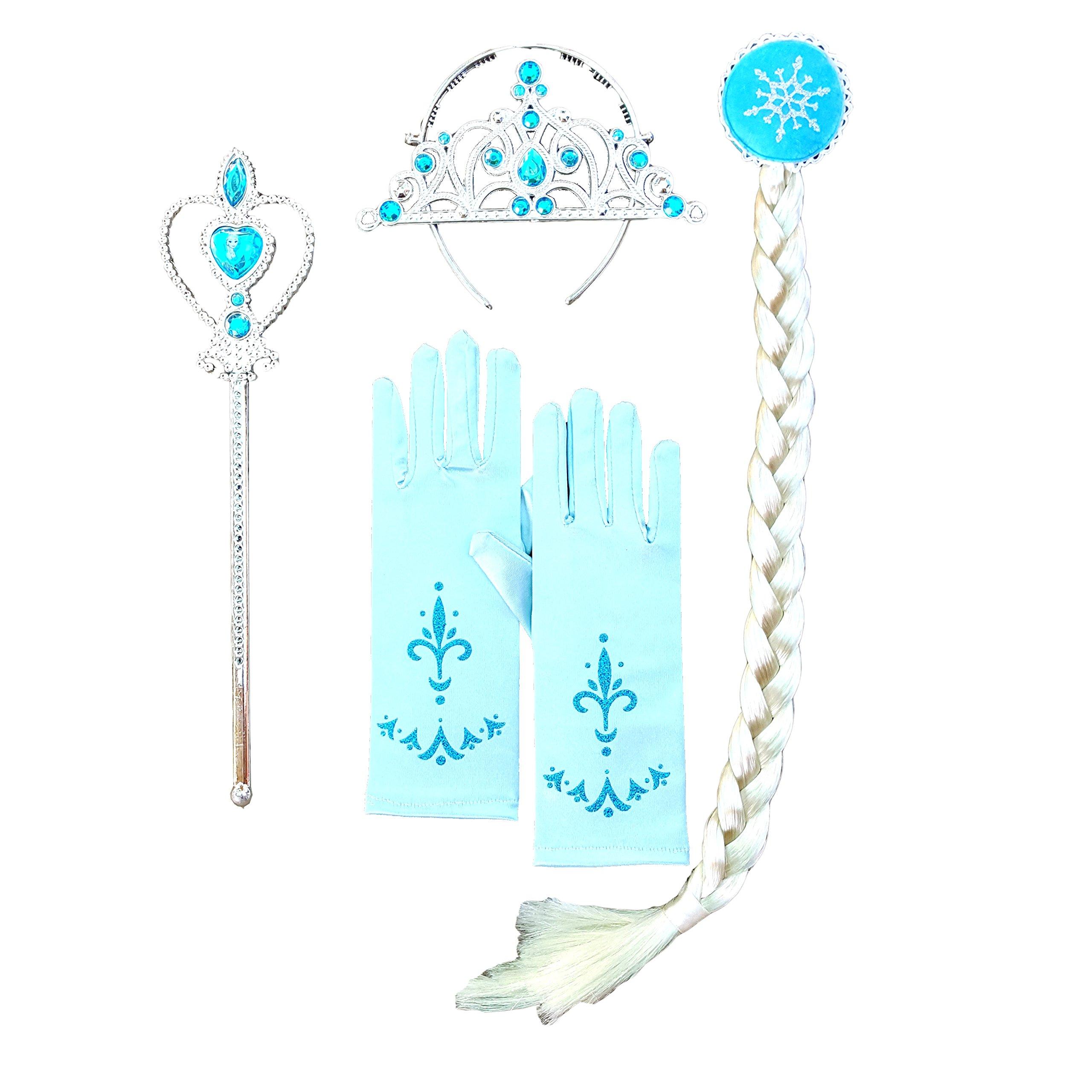DailyProposal 6 Pieces Pack Elsa & Anna Disney Frozen Princess Accessory USA (Elsa 15 Gem Tiara)