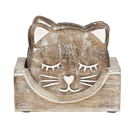Bebidas Posavasos – posavasos de madera Cat – Juego de 6 en caja de almacenaje (