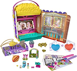 Polly Pocket Un-Box-It Playset, Popcorn Shaped Box Opens to A Movie Theater Adventure, Micro Polly & Lila Dolls, 15+ Surprises, Great All-Occasion Gift for Ages 4 Years Old & Up