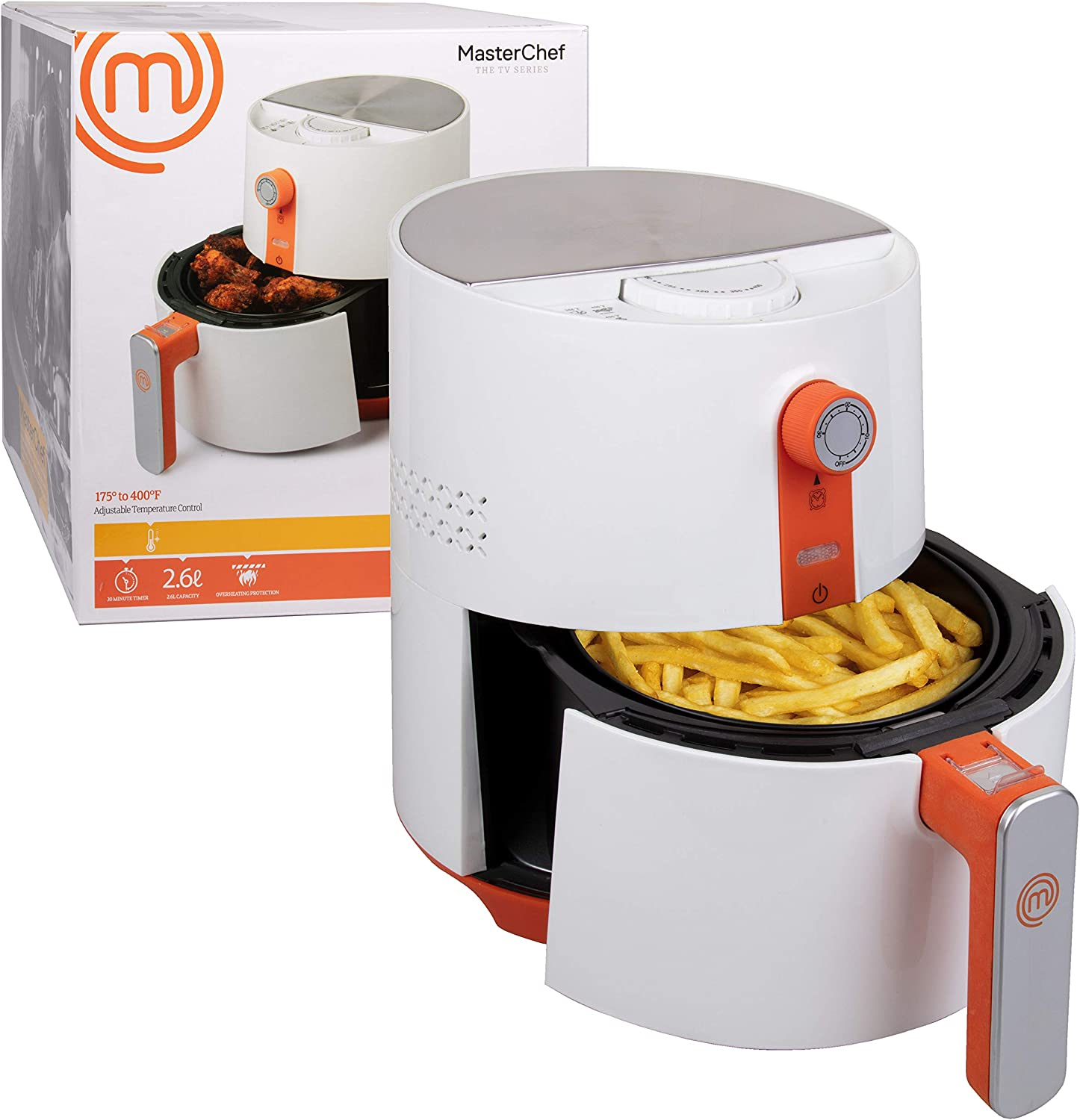 MasterChef Air Fryer- 3.6Q Non-stick Electric Cooker w FREE Recipe Booklet- Includes Timer, Auto Shut Off, Basket Lock and Adjustable Temperature Control
