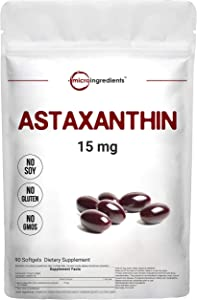 Micro Ingredients Astaxanthin 15mg, 90 Soft-gels, 3 Month Supply, Premium Astaxanthin Supplements, Supports Eye, Joint, Cardiovascular Health and Antioxidant