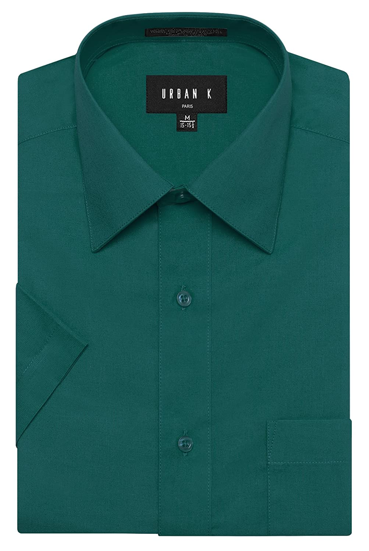 URBAN K メンズMクラシック フィット ソリッドフォーマル襟 半袖ドレスシャツ レギュラー & 大きいサイズ B06X3Y6Q74 3L Ubk_teal Ubk_teal 3L