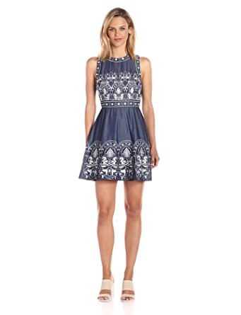 Joa Women S Embroidered Fit And Flare Dress Navy Multi