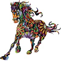 Floral Running Horse Removable Wall stickers For Livingroom Home Decoration Art Wall Posters Mural