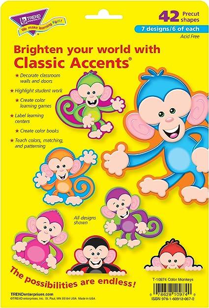 Amazon Com Trend Enterprises Color Monkeys Classic Accents Variety Pack 42 Piece Toys Games