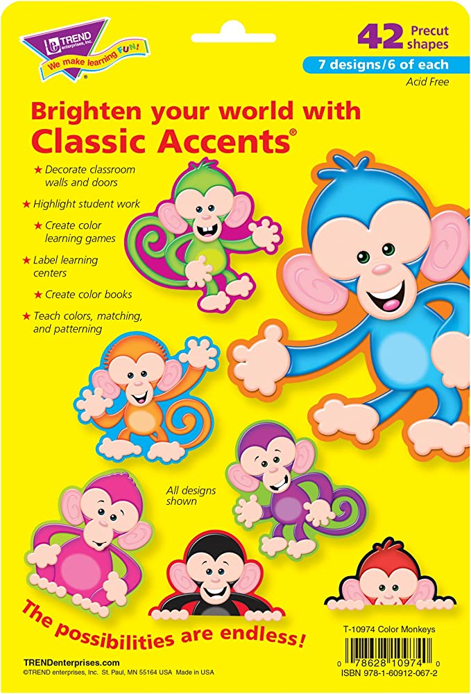 Trend Enterprises Color Monkeys Classic Accents Variety Pack 42 Piece Amazon Ca Toys Games