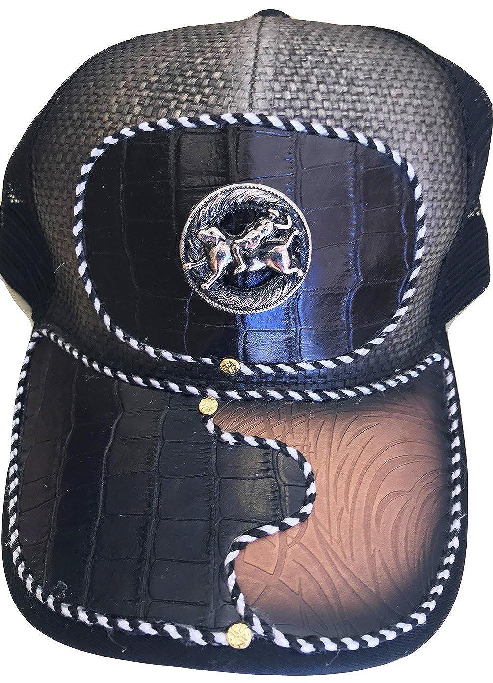 Modestone Western Ball Cap Metal Cowboy Bull Riding Rodeo Faux Crocodile