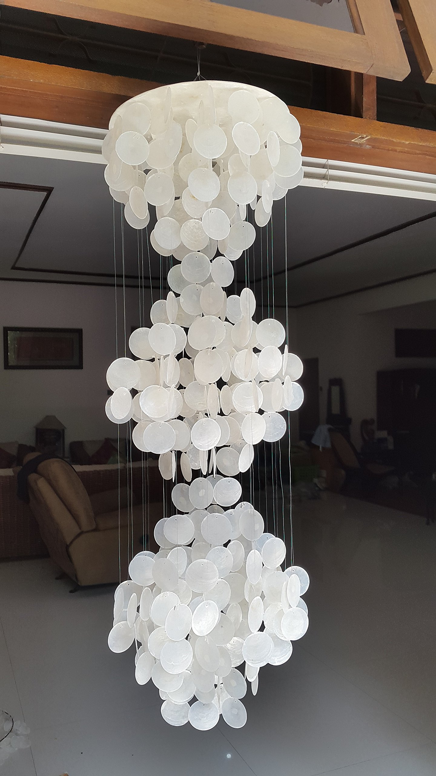 East-J Three-tier Capiz Shell Chandelier 39''