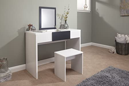 Home Source   Dressing Table Set With Stool Fold Down Mirror Storage  Compartment Black White Top