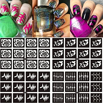 Ejiubas 96 Pieces 15 Designs Nail Vinyls Stencil Sticker Sheets Set Decal Stickers For
