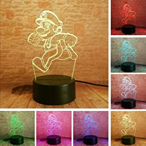 Fanrui 2020 Cartoon Super Running Mario Bros Action Figure Lamp Toys 7 Colors Changing Auto Professional Night Light Boys Room Table Decor LED USB 3D Touch Children Teens Home Party BirthdayXmas Gifts