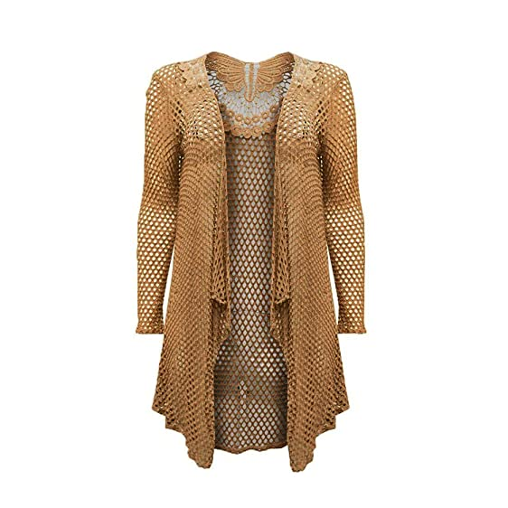 Ladies Womens Crochet Butterfly Waterfall Mesh Lace Drape Cardigan ...