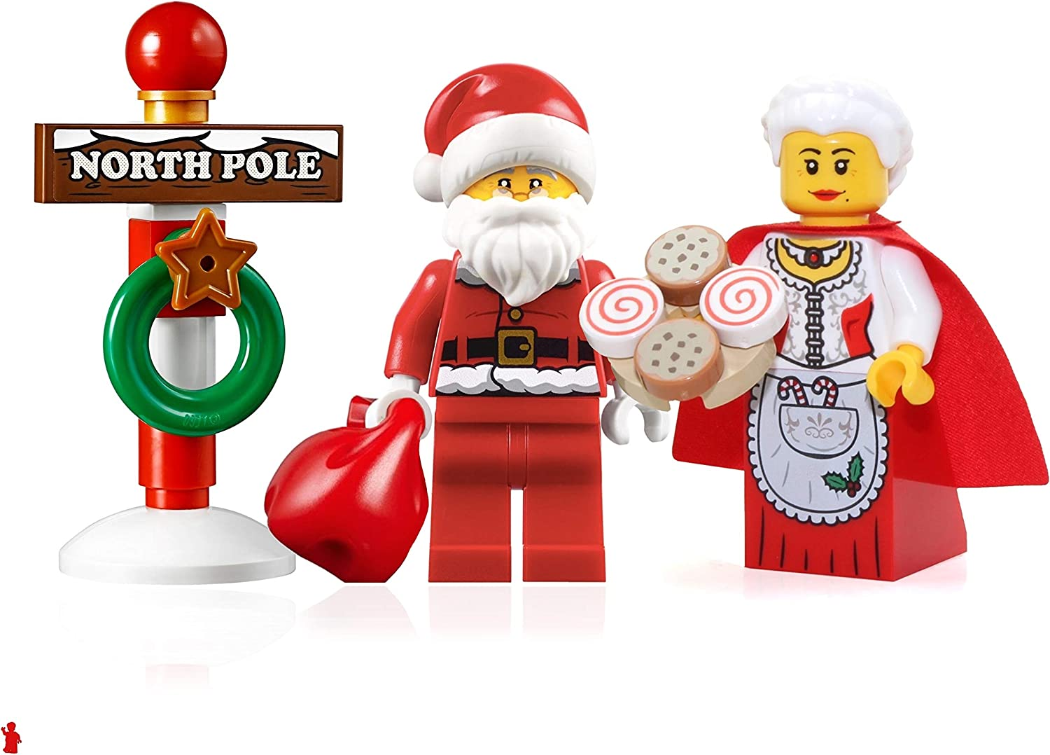 LEGO Holiday Creator Minifigure Set - Santa with Glasses, Mrs. Claus, and North Pole Stand